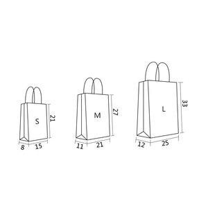 Image 5 - 30 יח\חבילה מתנת שקיות עם ידיות רב פונקציה שחור נייר שקיות 3 גודל למחזור סביבה הגנת נייר תיק