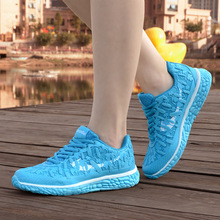 2016 Hot Sale New Fashin Women Shoes Lace Flat Breathable Mesh Travel Shoes Fluorescence Casual Shoes Tenis Feminino Mujer