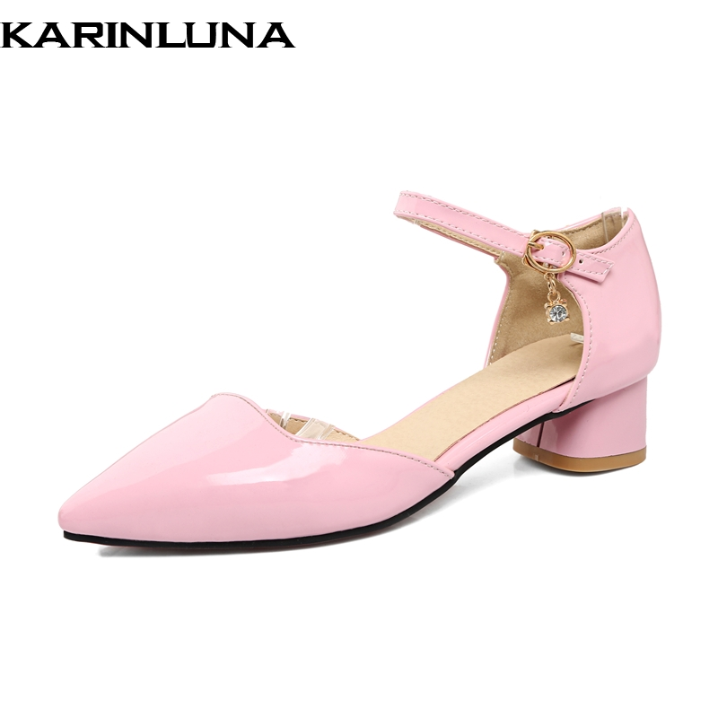 KarinLuna New Large Size 32-43 Pointed Toe Buckle Strap Woman Shoes Brand Design Summer Pumps Shoes Women Chunky Low Heels Shoes lankarin brand 2017 summer woman pointed toe flats ladies platform fashion rivet buckle strap flat shoes woman plus size