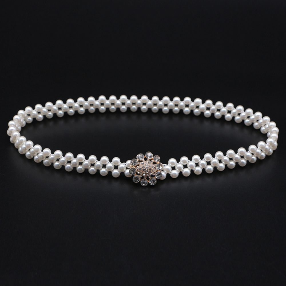 Women Buckle Inlaying Rhinestone Pearl Elastic Belt Female Strap Dress Accessories Slim Waist Seal Temperamental Elegant  Alloy
