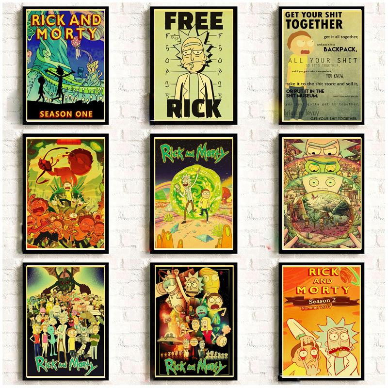 Cartoon Poster  Rick and morty retro posters kraft wall paper High Quality Painting For Home Decor wall stickers(China)