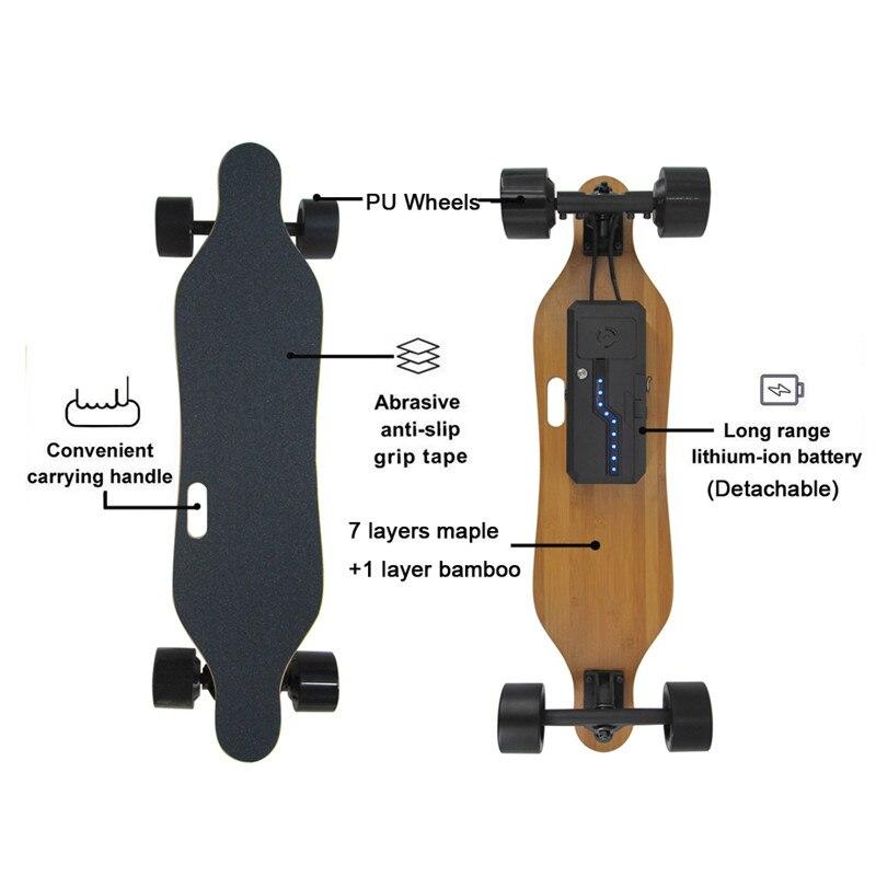 2019 Nouveau Amovible skateboard électrique Électronique mini Longboard télécommande trottinette électrique 350 W * 2 Hub-Moteur - 3