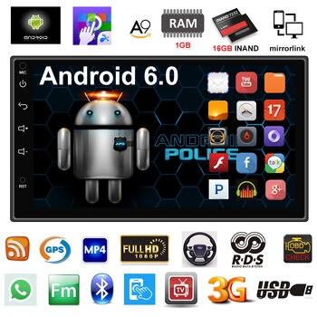 2 дин Радио GPS навигации Android 6.0 Аудиомагнитолы автомобильные плеер Сенсорный экран 4 ядра Автомагнитола USB Bluetooth игрока Авторадио