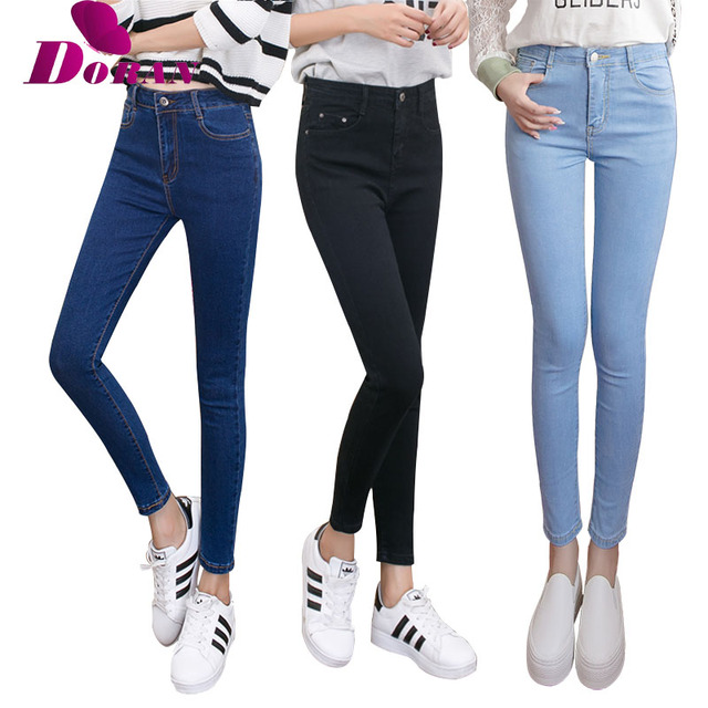d9cc1f5fb6 womens colored skinny jeans plus size women's jeans with high waist jeans  black blue female Denim Pants Trousers Pencil Skinny