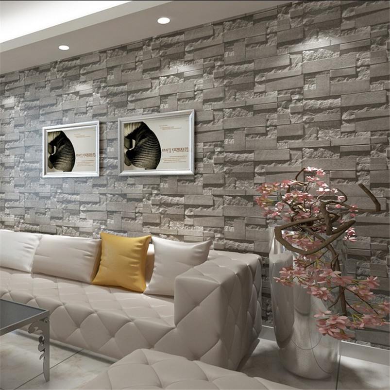 Stacked Brick 3d Effect Stone Wallpaper Roll Grey Wall Background For Living Room