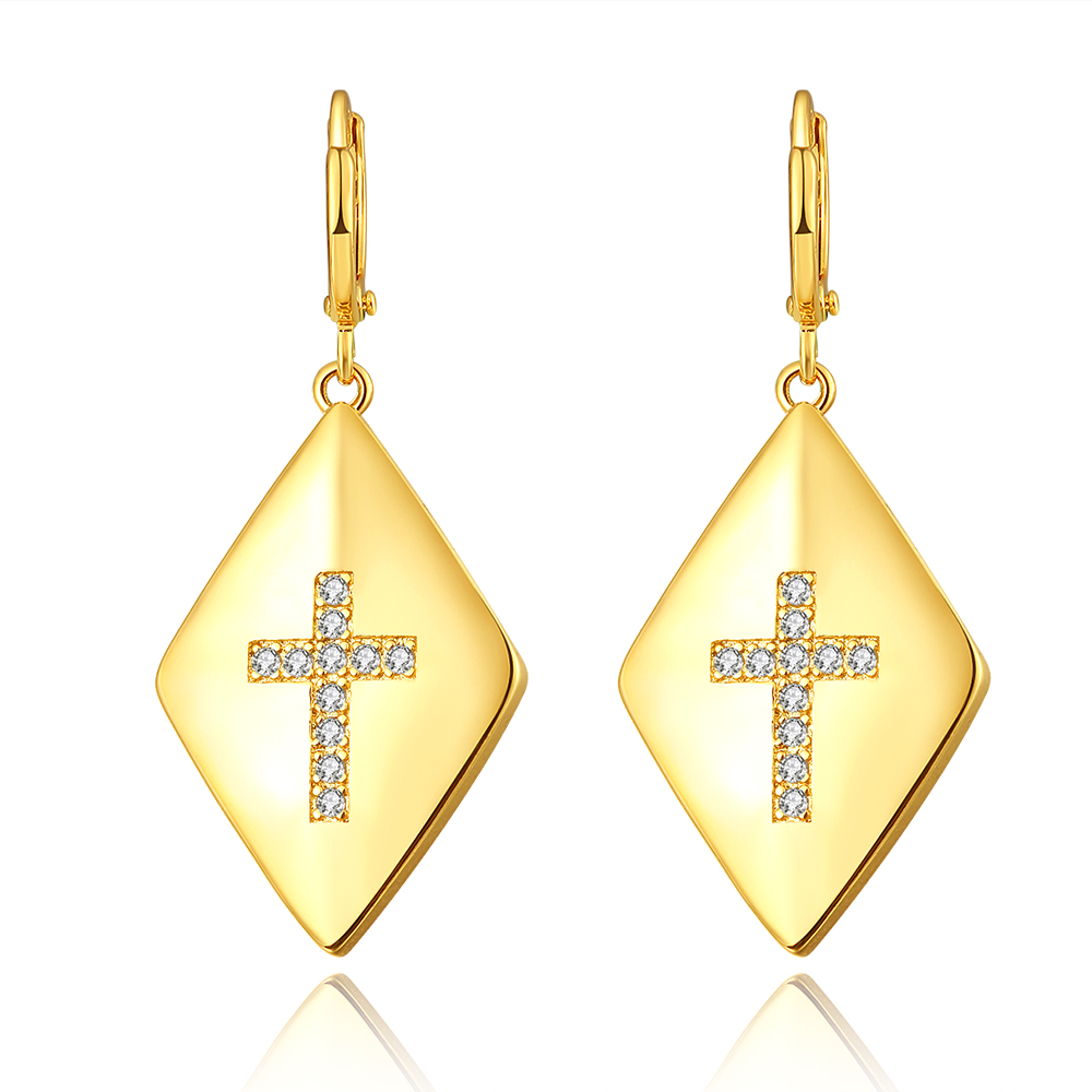 BRZHA Brand Jewelery Womens Zircon Cross Earrings Gold color Earrings Womens Fashion Jewelery