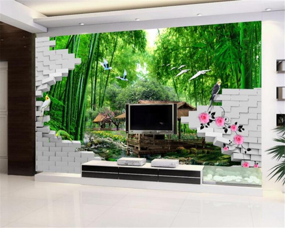 US $8 85 OFF Beibehang Kustom 3D Wallpaper Pemandangan Alam Rumput Bambu Rumah Lotus Dinding Bata Foto 3D Lukisan Dinding Wallpaper Papel De
