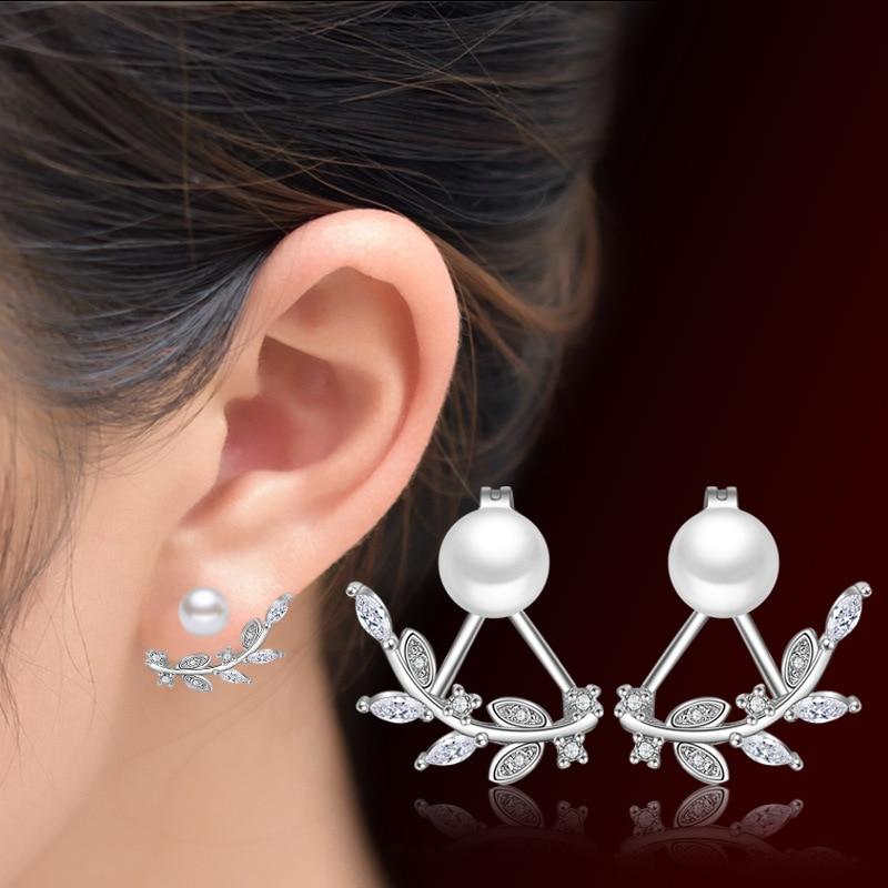 Hot Sale Promotion New Pearl Einfache Blatt Ohrring 925 Sterling Silber Ohrstecker für Frauen Schmuck Geschenk Drop Shipping