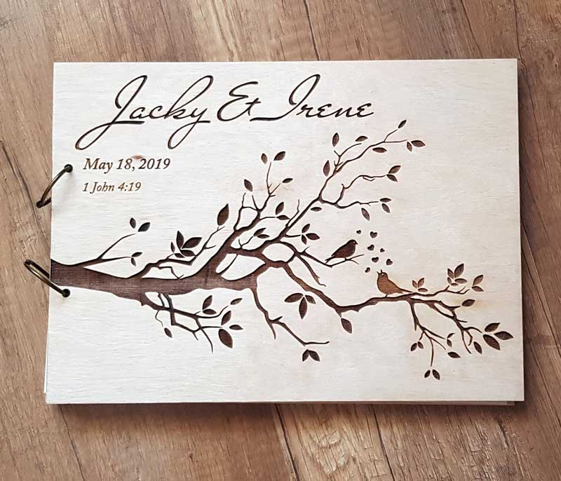 Personalized Engraved  Wooden Guest Book Bird Wedding Guest Book Rustic Wedding Guest Book Bridal Shower Guest Book