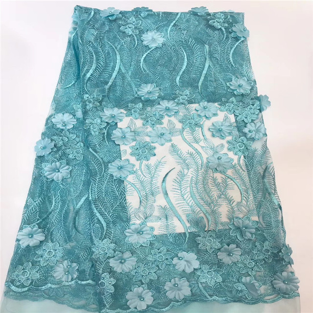 Nigeria Mesh Lace Stones Aqua Embroidery 3d Flower Beaded African Lace Fabric High Quality French Tulle Lace for Lady X1474