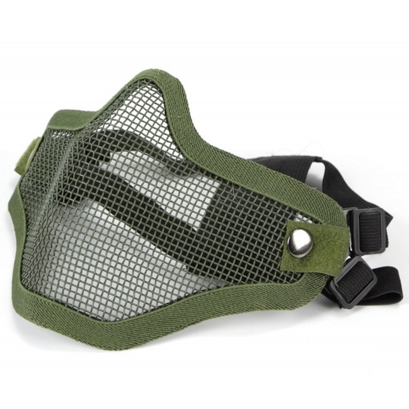 CQC Outdoor Military Tactical Airsoft Lower Half Face Mask Steel Metal Mesh Skull Protective Mask OD Hunting Halloween Party