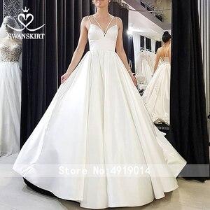 Image 5 - Женское атласное свадебное платье, простое трапециевидное платье со шлейфом и карманами, модель F136, 2019