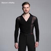 2017Men's V Collar Latin Dance Clothing Long Sleeves Shirts Modern Cha Cha Dance Waltz Latin Dance Men Modern Competition Dress