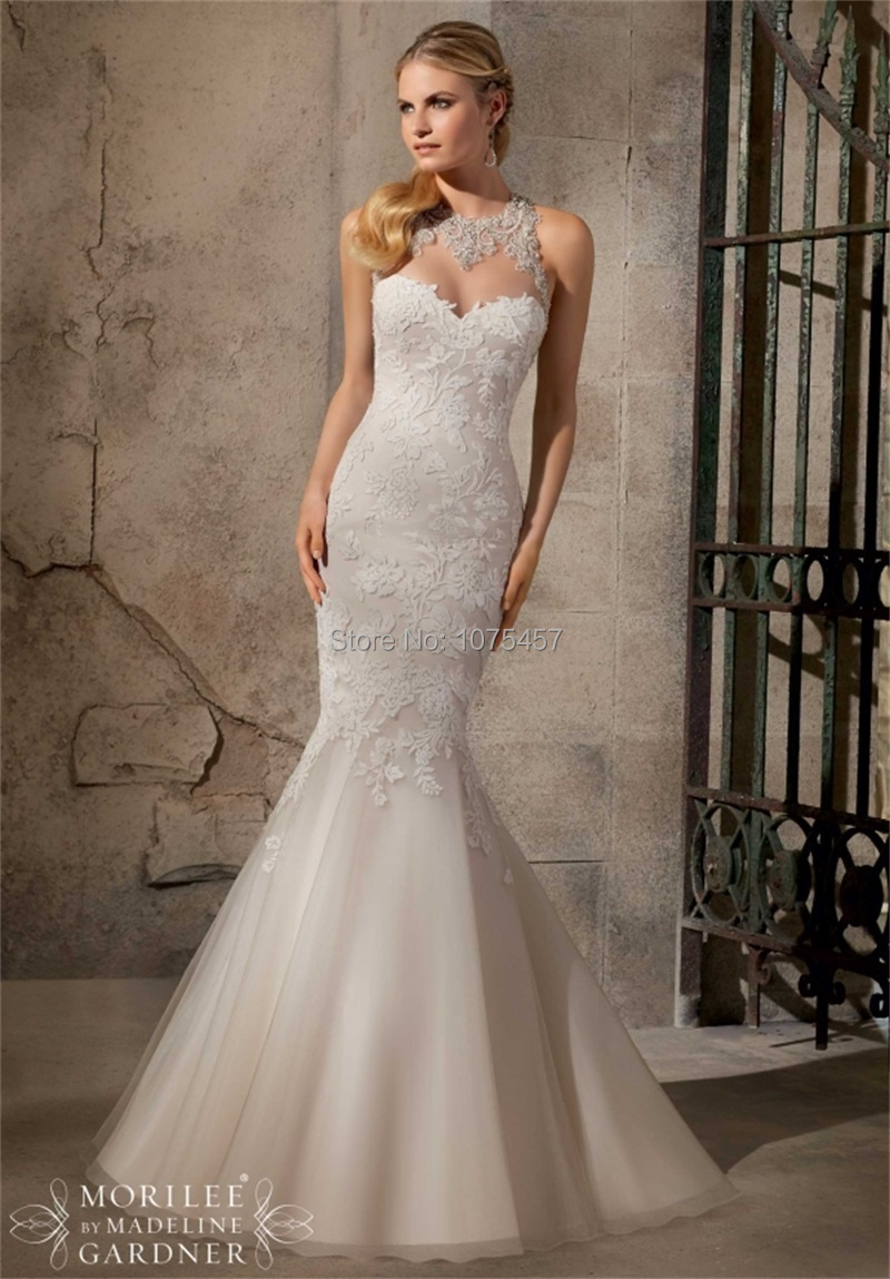 Latest Design Vintage Lace Wedding Dress 2015 Sheer Neck Sexy Open Back Bridal Gown With Train A Line Vestido De Novia MW2381