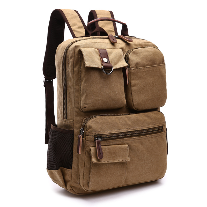 Canvas Backpack With Side Pocket & Leather Handle