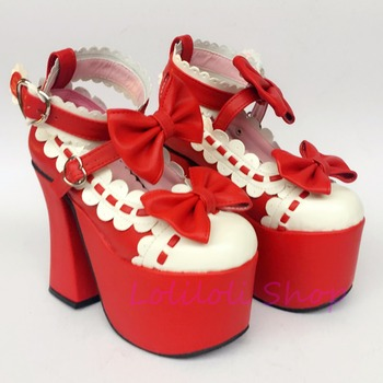 Princess sweet punk shoes loliloli yoyo Japanese design custom  red and white bright skin buckle strap high-heeled shoes an9896