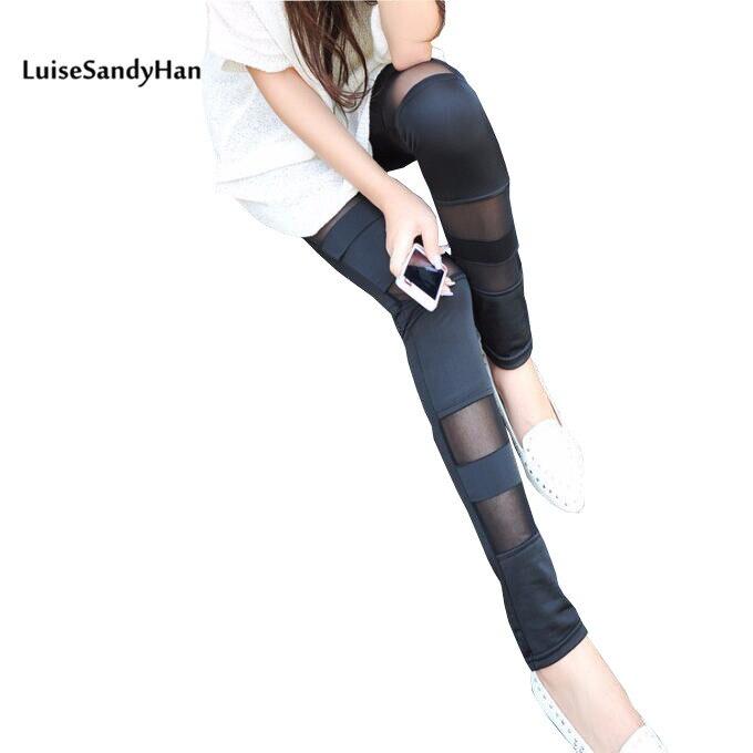 Hot Selling 2017 Female Skinny Pants Patchwork Work-wear Women High Waist Trouser Black Elastix Pencil