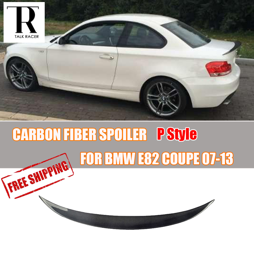 P style e82 coupe carbon fiber rear lip wing spoiler for bmw e82 1 series couper 2 door only 2007 2008 2009 2010 2012 2012 2013 in spoilers wings from
