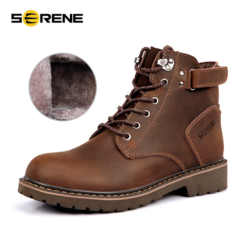 Serene Winter Genuine Leather Ankle Boots Men Keep Warm Plush Martin Boots Split Leather Work Motorcycle Boots Plus Size free shipping autumn winter genuine leather men s work ankle boots martin boots british style western cowboy boots for men botas