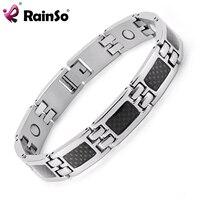 Rainso 여성 실버 티타늄 스틸 블랙 탄소 섬유 4 요소 건강 전원 자기 균형 팔찌