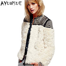 3c7bfaf3de2 2018 новые модные европейские брендовые шерстяные женские зимние пальто с  мехом бежевые Длинные рукава бисером лоскутное