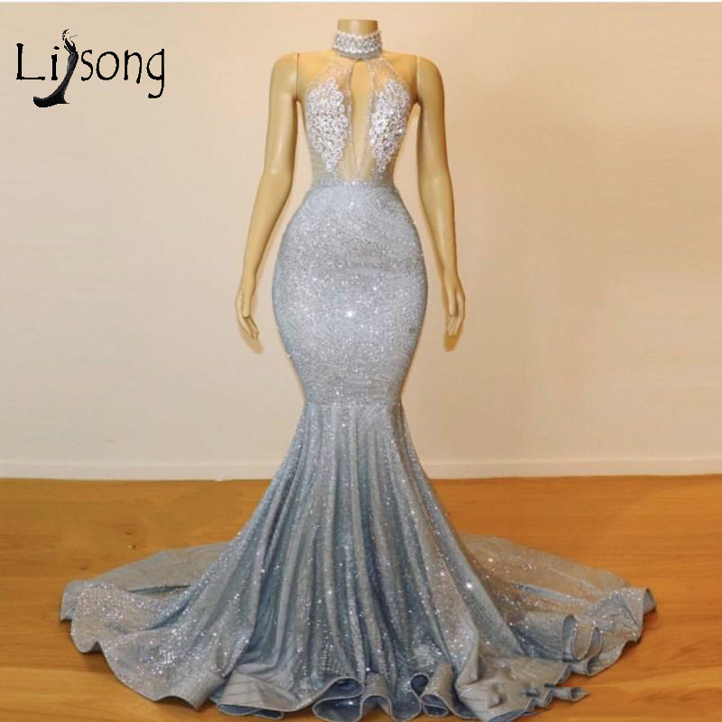 Sexy Sparkle Fabric Backless Mermaid   Prom     Dresses   Halter Lace Beaded Crystal Long   Prom   Gowns Saudi Arabic Formal   Dresses   2019