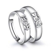 2017 nuovo 925 argento semplice trend di cristallo amare coppia digitale apertura anello fragile CR071