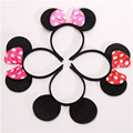 One pcs Lovely Girls Bows Minnie Mickey  Mouse Ears Baby Hair Accessories Party  Headband kid birthday red rose black and pink