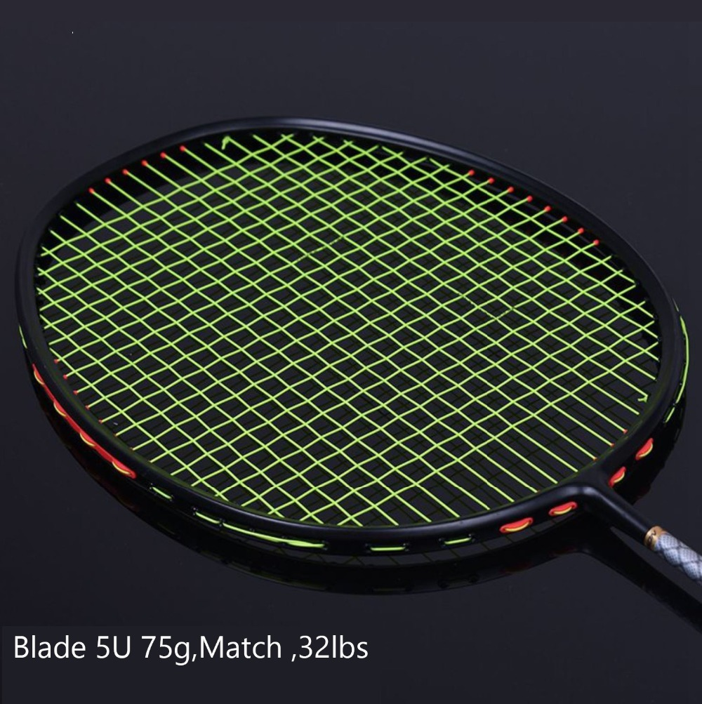 1pc 32LBS Badminton Racket Quality Full Carbon 5U Frame Attack and Defense badminton racquets