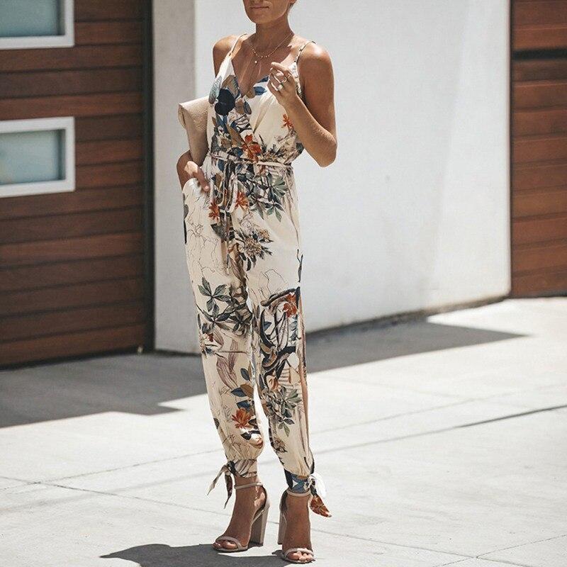 Women's Spaghetti Strap V Neck Floral Print Jumpsuit Split Beam Foot Pants Jumpsuit Rompers Lace Up Woman Jumpsuits