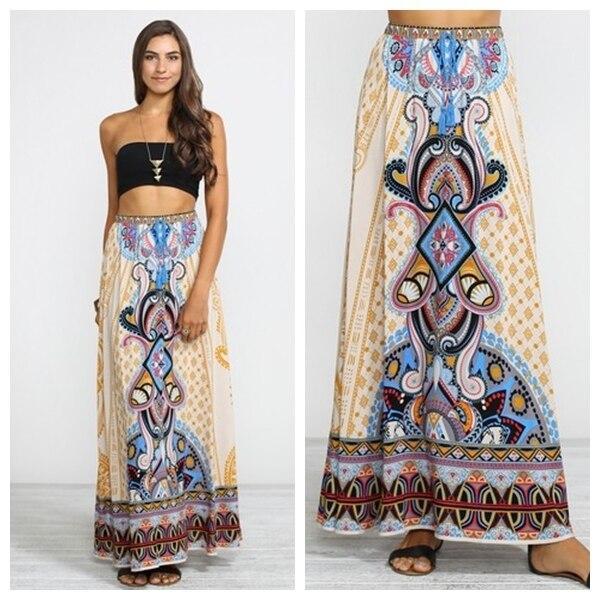 bb2c39738 € 27.13 |Boshow azteca faldas largas SAIA longa robe longue beige impresión  Palazzo Boho long Bohemia algodón Maxi Faldas falda tul en Faldas de ...