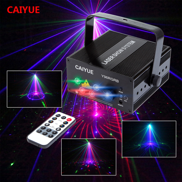 Best Offers DJ Laser stage light Full Color 96 RGB or 48 RG Patterns Projector 3W Blue LED Stage Effect Lighting for Disco light Xmas Party
