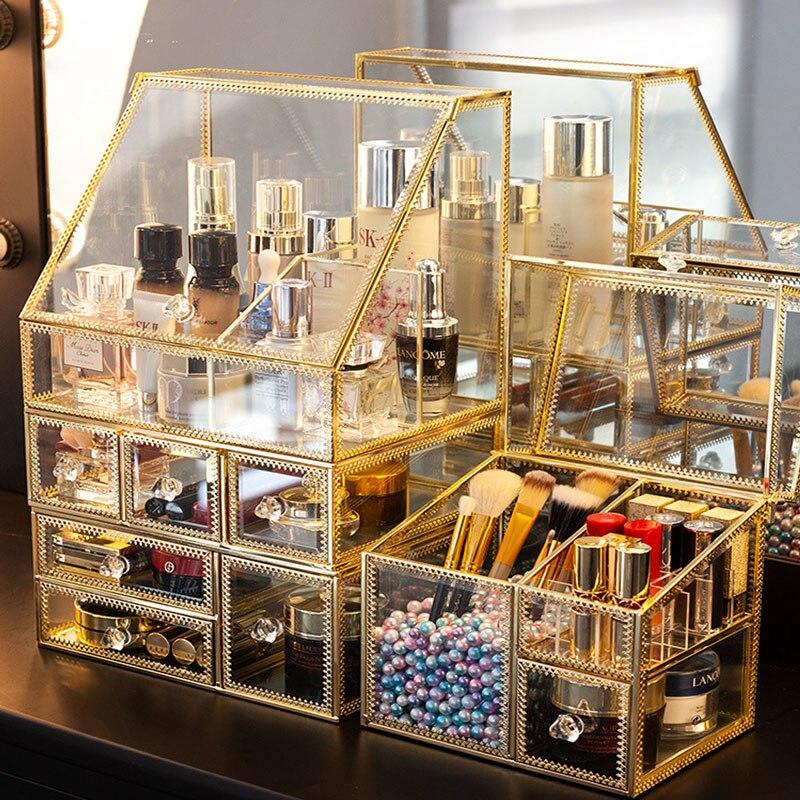 Luxury Glass Cosmetic Storage Box Drawers Makeup Organizer Desktop Cotton Swab Lipstick Holder Make Up Organizer Girl Gift