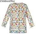 Manteau Fille Crianças Jaquetas para Meninas Casacos de Bebê Jaqueta Outerwear 2017 Primavera Tops Designer Majolica Impresso Crianças Roupas