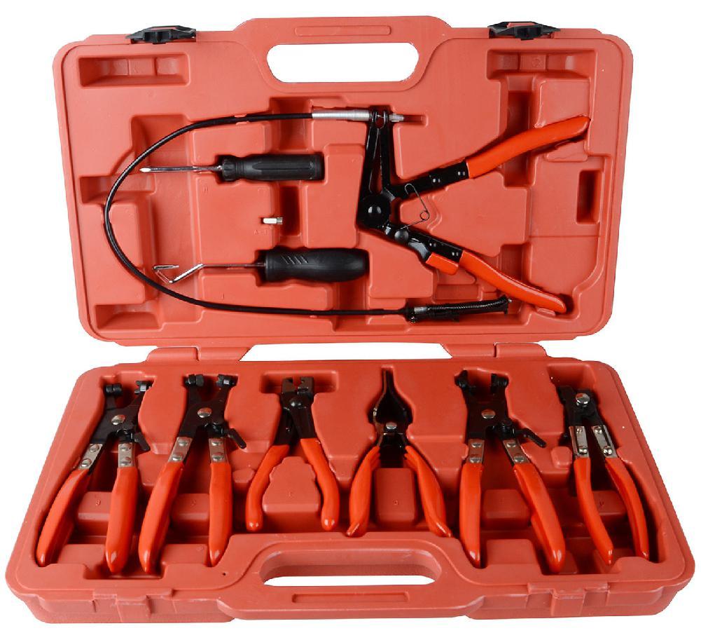9 unids/set de la abrazadera de la manguera de juego de alicates de la mandíbula plana ángulo banda automotriz de la herramienta de eliminación de abrazadera hebilla herramientas para el auto
