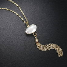 2019 Natural Freshwater Baroque Pearl Tassel plated Pendant Necklace for women pearl necklace female long necklaces