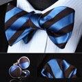 Bzs01b azul a rayas marrón hombres seda auto pajarita pañuelo gemelos set