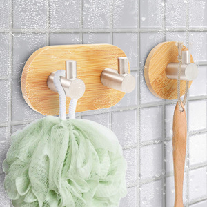 Настенный бамбуковый деревянный крючок для пальто, вешалка для ванной комнаты, для гостиной, держатель для полотенец, полка в форме L, просты...