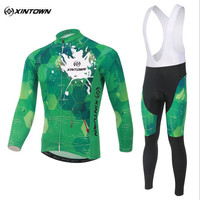 XINTOWN Cycling Clothes Green Long Sleeves Cycling Jersey Set Mountain Bicycle Wear Racing Bike Clothing Ropa