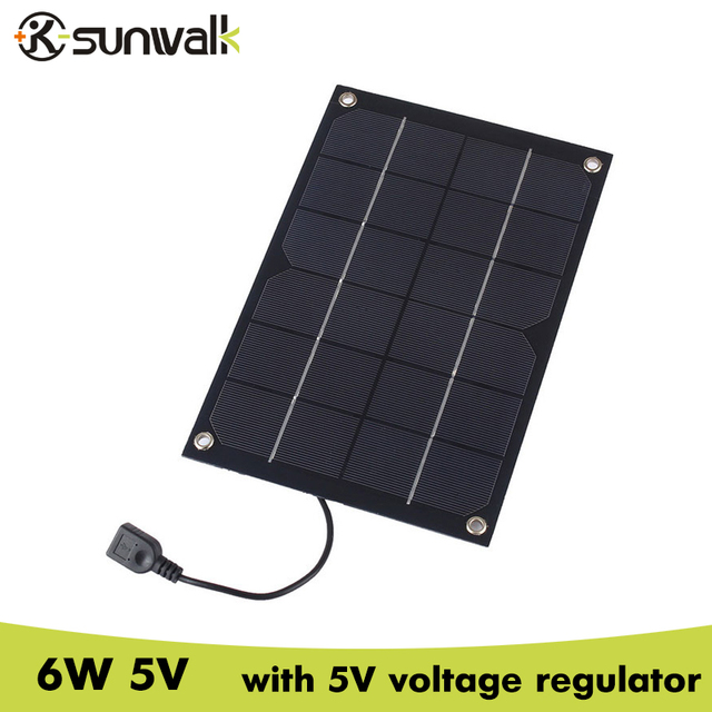 SUNWALK 6W 5V Semi Flexible Solar Panel Charger 5V 1A Solar Charger with Voltage Regulator Charging for iPhone 5V device