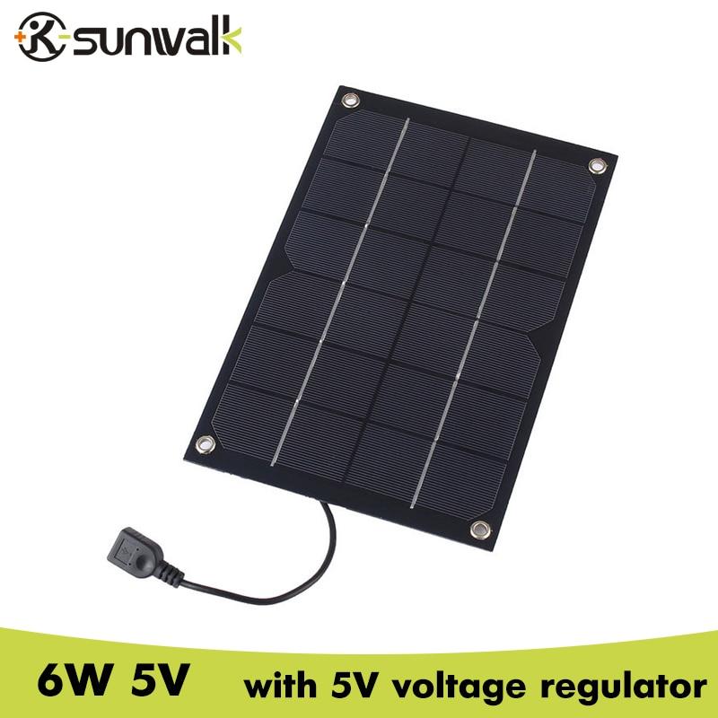 SUNWALK 6W 5V Semi Flexible Solar Panel Charger 5V 1A Solar Charger with Voltage Regulator Charging for iPhone 5V device