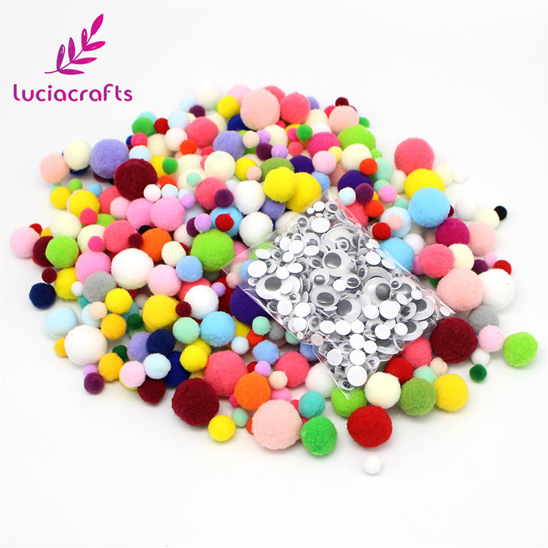 Lucia crafts 1500pcs Assorted Sizes Pom Pom Craft Round Wiggle Googly Eyes with Self-adhesive Doll Accessory Materials 020004025 ...