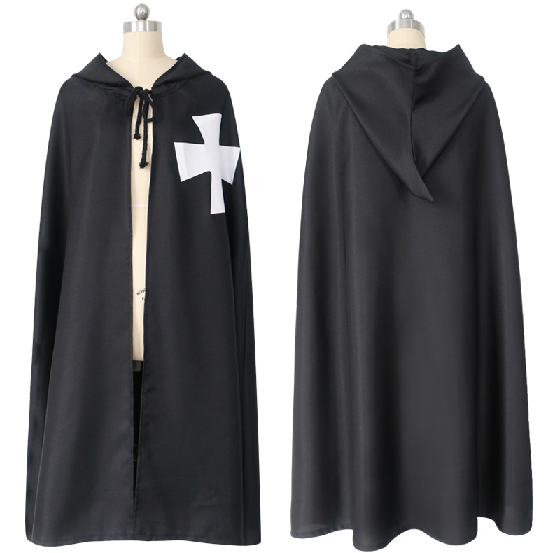 Halloween Black Crusader Costume Cape Cloak Medieval Renaissance Templar Hospitaller Knights Tunic Robe Cosplay Accessories