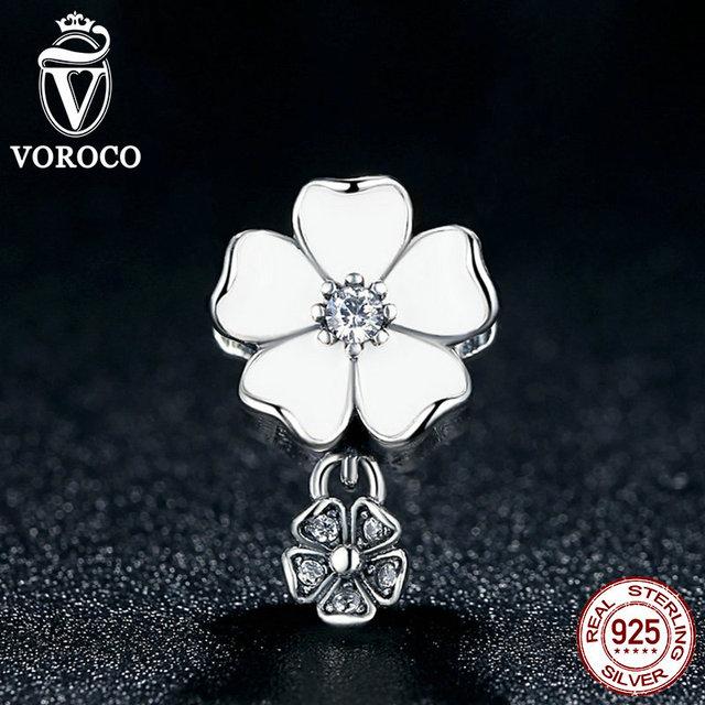 Belas 100% 925 jóias de prata esterlina poéticas flores pingente encantos fit pandora pulseira contas fazer jóias s285