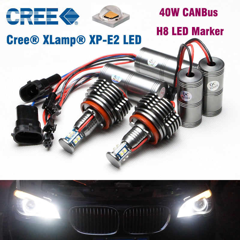 40W LED Angel Eyes Bulbs H8 LED Marker lights Canbus for BMW X5 X6 E70 E71 E91 E92 M3 E87 E82 E93 LED Headlight Bulbs White 1 pair 12w h8 led bulbs angel eyes halo light bulbs marker headlight for bmw e60 e82 e87 e90 e92