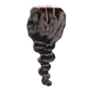 Base de seda pelo brasileño suelto ondulado 4x4 parte libre Remy cabello humano Pre arrancado Natural con Prosa de pelo de bebé
