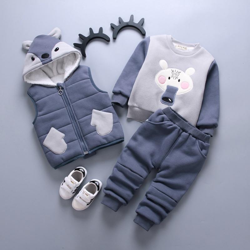 Baby Girl Boy Clothing Sets 2018 Cartoon Pattern Autumn Winter Warm Toddler Vest + Shirt + Pants 1 2 3 4 Years Kid Clothing Suit cartoon boy girl design resin desktop decoration