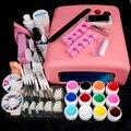 Новые Pro Nail Art 36 Вт UV GEL Розовый Лампы и 12 Цвет УФ Гель Nail Art DIY советы Наборы Инструментов наборы