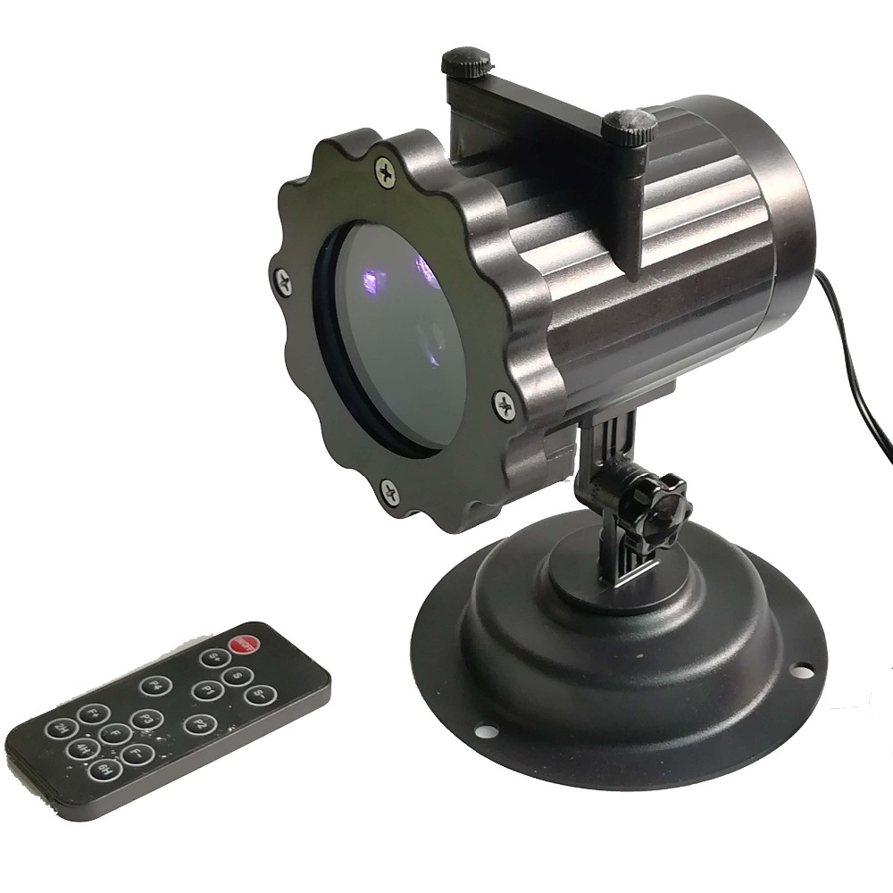 This decorative outdoor light projector is equipped with 12 delicate animated pattern slides, including Santa Claus, Snowflake, Halloween