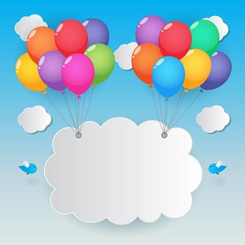 paper cloud colour balloon blue sky bird backdrop vinyl cloth high